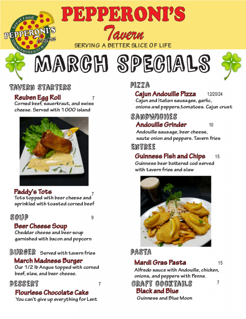 march pepperonis tavern food specials